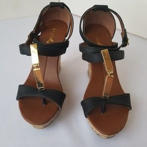 Black w/Gold Qupid Cork Wedge Heel  size